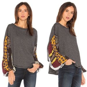 Free People Blossom Black Balloon Sleeve Thermal L